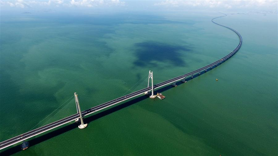 Photo taken on June 6, 2017 shows the construction site of the Hong Kong-Zhuhai-Macao Bridge in the Lingdingyang waters, south China. (Xinhua/Liang Xu)