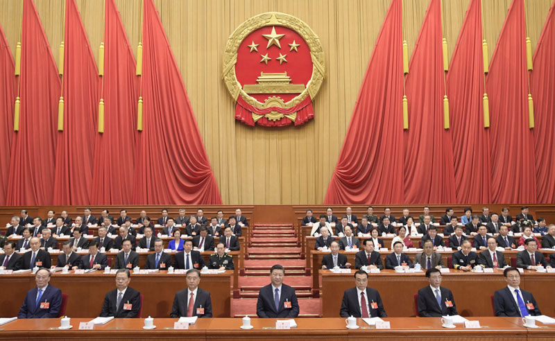3月5日,第十三届全国人民代表大会第二次会议在北京人民大会堂开幕。党和国家领导人习近平、李克强、汪洋、王沪宁、赵乐际、韩正、王岐山等出席会议。新华社记者 李学仁 摄