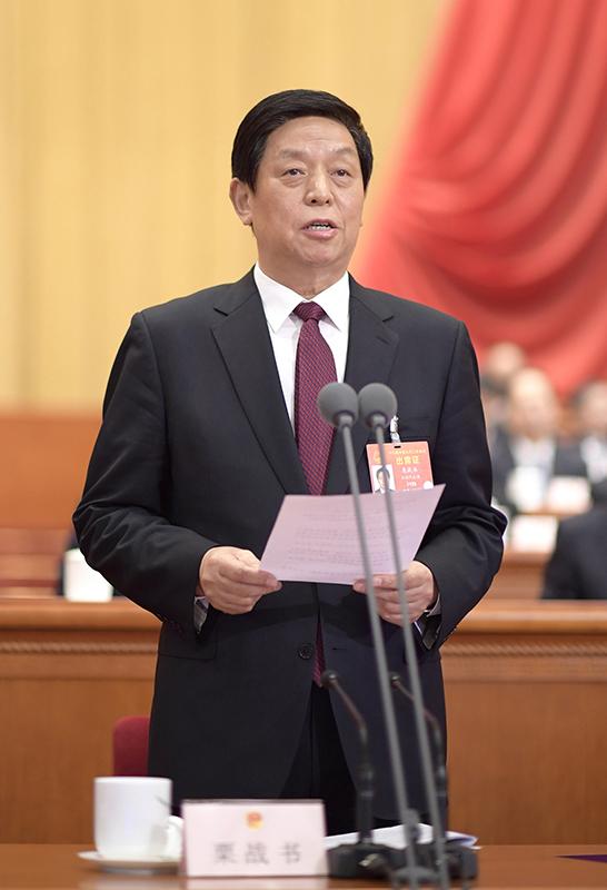 3月5日,第十三届全国人民代表大会第二次会议在北京人民大会堂开幕。栗战书主持会议。新华社记者 李学仁 摄