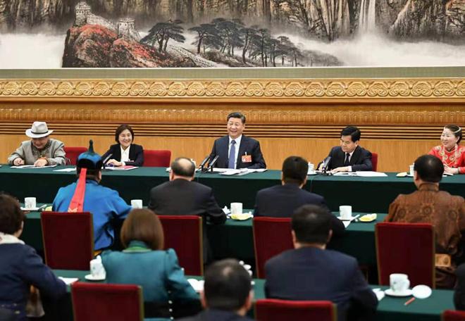 2019年3月5日,网上真人赌场:参加十三届全国人大二次会议内蒙古代表团的审议。