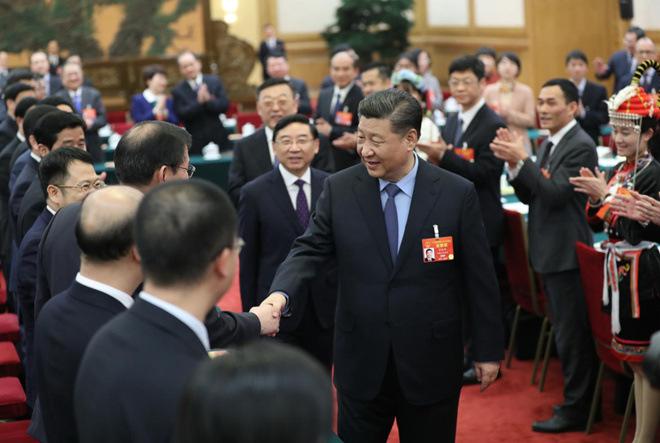 2019年3月10日,習近平參加十三屆全國人大二次會議福建代表團的審議。