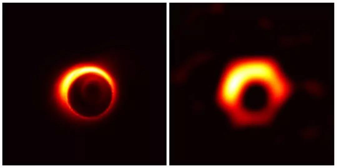 M87星系中心的超大质量黑洞的模拟图像。中间的黑色区域是黑洞的剪影。| 图片来源:Jason Dexter (左) and Kazunori Akiyama (右)