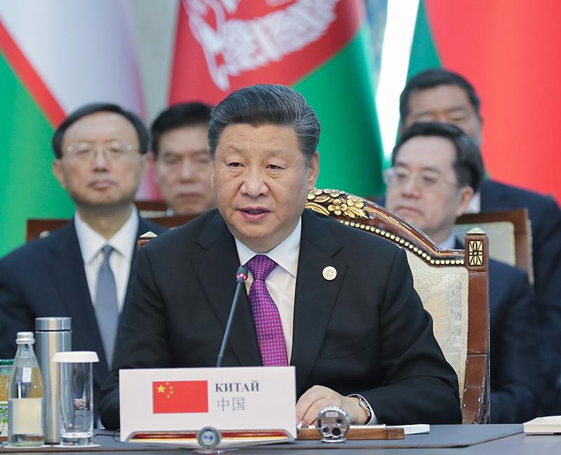 6月14日,国家主席习近平在吉尔吉斯斯坦首都比什凯克出席上海合作组织成员国元首理事会第十九次会议并发表重要讲话。