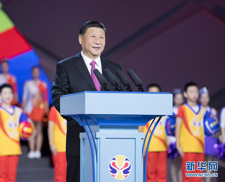 8月30日晚,2019年国际篮联篮球世界杯开幕式在北京水立方举行。国家主席习近平出席开幕式并宣布2019年国际篮联篮球世界杯开幕。