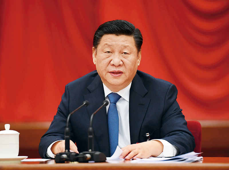 中国共产党第十九届中央委员会第二次全体会议,于2018年1月18日至19日在北京举行。中央委员会总书记习近平作重要讲话。 新华社记者 李学仁/摄