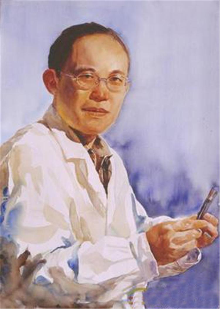 《韵一一流行病学家、2003年冠状病毒发现确定者曹务春》 赵进武 水彩画