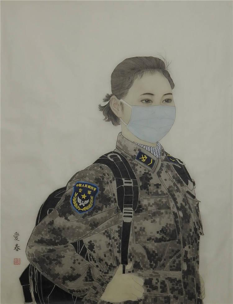 《到一線去》孟愛春  中國畫