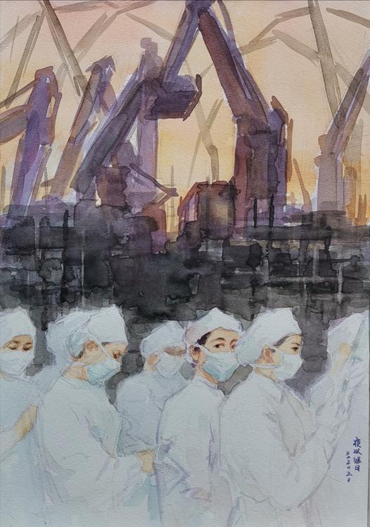 《夜以继日——向奋斗在疫情第一线的勇士们致敬!》   朱宪伟   水彩画