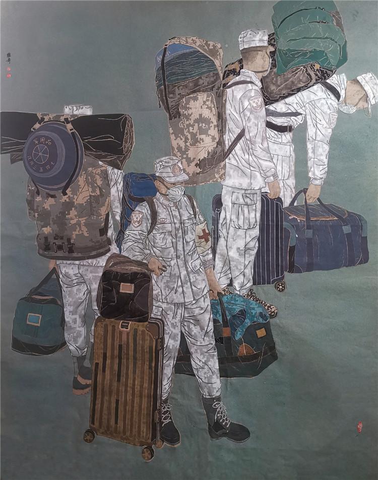 《出征》 郭維奇  中國畫