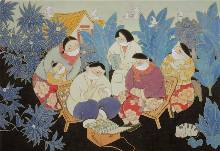 《春天就在不远处—乡村抗疫记》 郑开琴  中国画