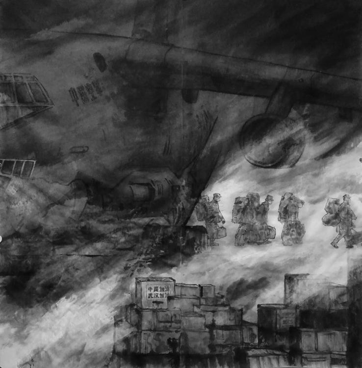 《生命·疫情·施援》 賀勇   中國畫
