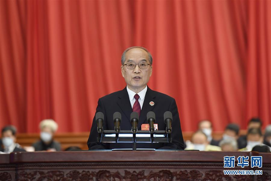 5月25日,十三届全国人大三次会议在北京人民大会堂举行第二次全体会议。最高人民检察院检察长张军代表最高人民检察院作工作报告。 新华社记者 岳月伟 摄