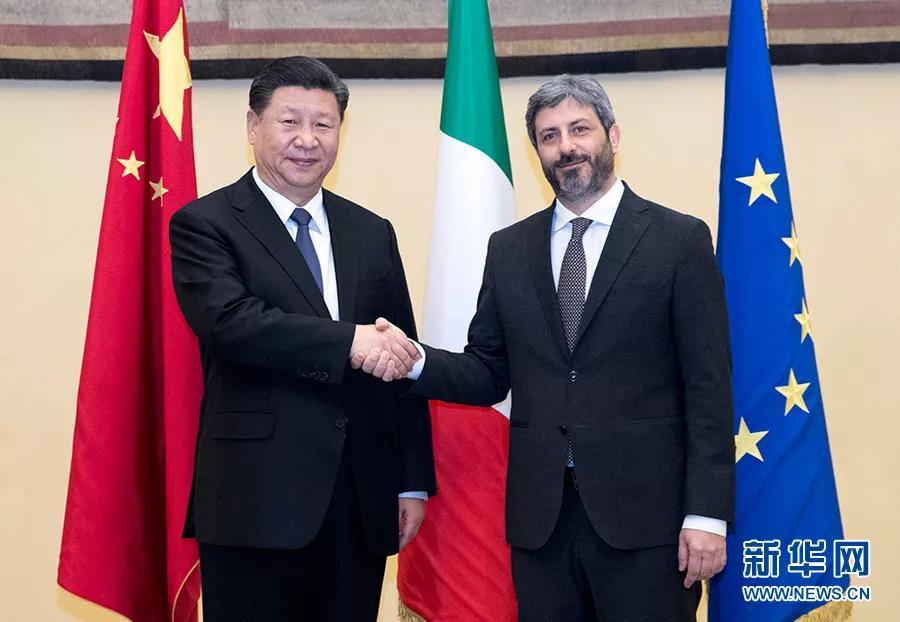 2019年3月22日,国家主席习近平在罗马会见意大利众议长菲科。 新华社记者  王晔/摄