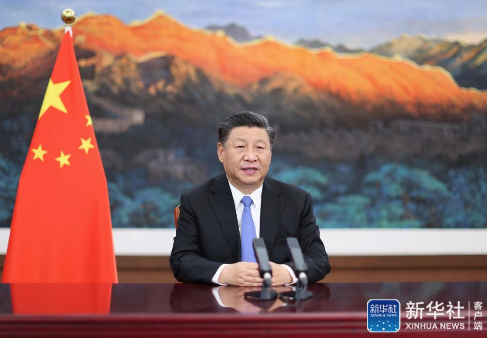 11月4日晚,第三届中国国际进口博览会开幕式在上海举行,国家主席习近平以视频方式发表主旨演讲。新华社记者 鞠鹏 摄