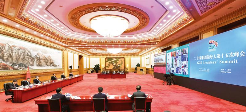 2020年11月22日晚,国家主席习近平在北京以视频方式出席二十国集团领导人第十五次峰会第二阶段会议,重点阐述关于可持续发展问题的看法。 新华社记者 李响/摄
