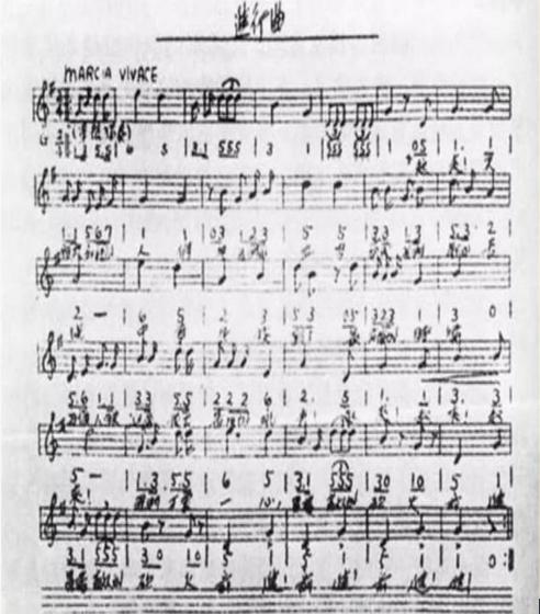 △聂耳谱写的《义勇军进行曲》手稿