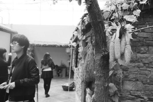 记者 王洪涛 报道  在沂蒙山农耕博物馆内,挂着玉米,辣椒的老房子