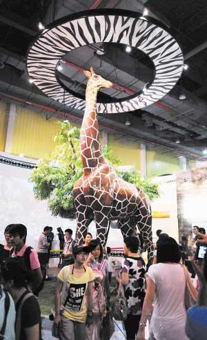 The Tanzania Pavilion inside the Africa Joint Pavilion is enlivened by a huge giraffe, a national treasure of Tanzania.