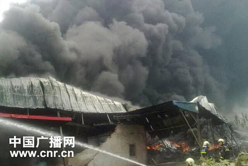 The fire started at about 7 in the morning, and has destroyed an area of more than 5,000 square meters of the warehouse.