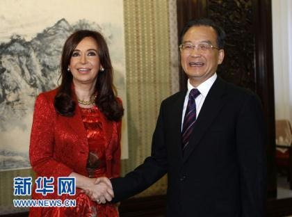 Chinese Premier Wen Jiabao has met with Argentine President Cristina Fernandez de Kirchner on Wednesday in Beijing.