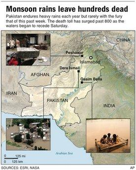 Map locates major floods in Pakistan and includes photos.