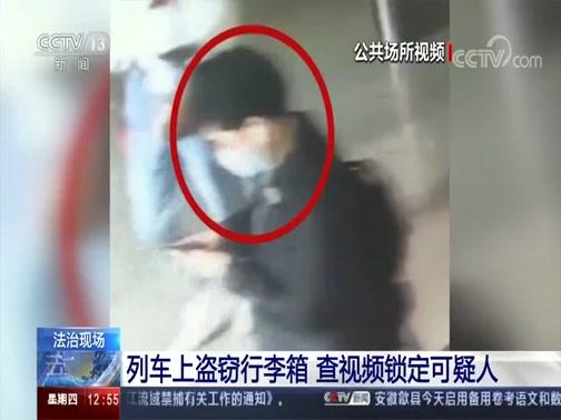 [法治在线]法治现场 列车上盗窃行李箱 查视频锁定可疑人