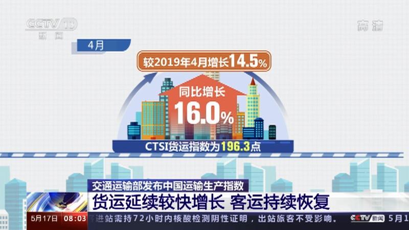 [朝闻天下]交通运输部发布中国运输生产指数央视网2021年05月17日08:21