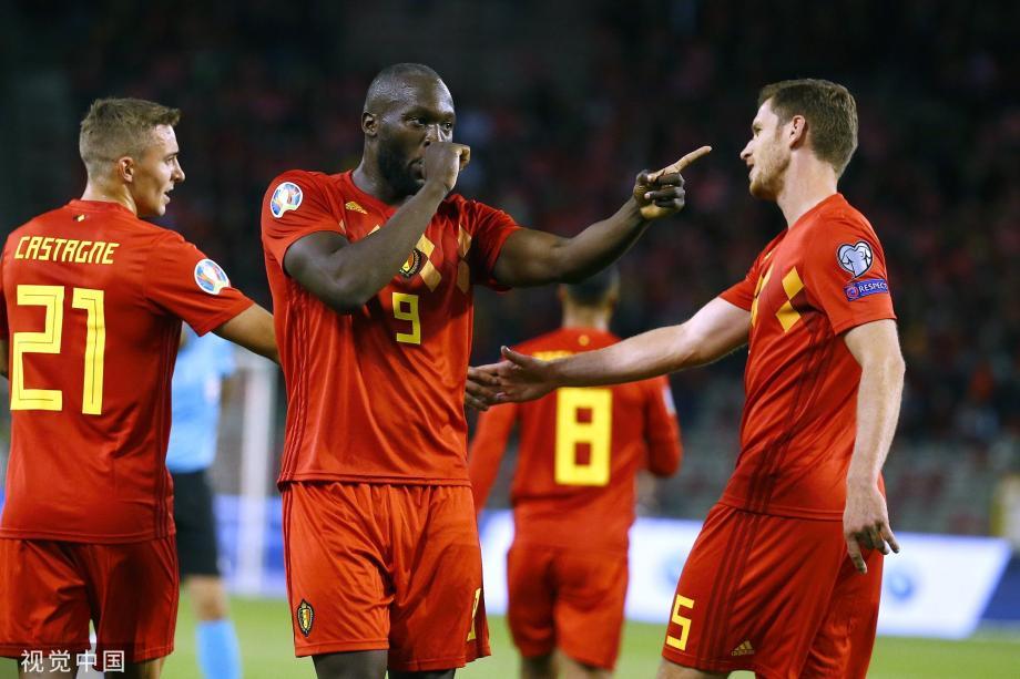 [图]卢卡库双响 阿扎尔2助攻 比利时9-0全胜