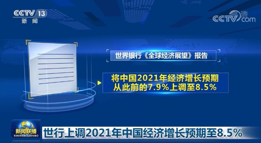 世行上调2021年中国经济增长预期至8.5%