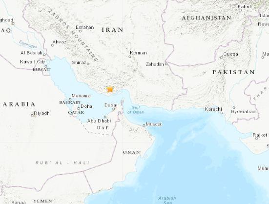 北京时间11月6日15时40分许,伊朗南部地区发生5.3级地震。图片来源:美国地质勘探局网站截图