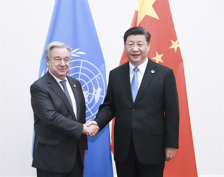 Chinese President Xi Jinping (R) meets with UN Secretary-General Antonio Guterres in Osaka, Japan, June 28, 2019. (Xinhua/Pang Xinglei)