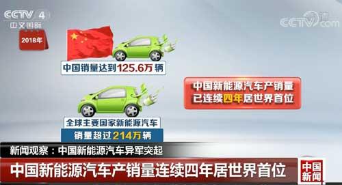 中国新能源汽车异军突起 产销量连续四年居世界首位