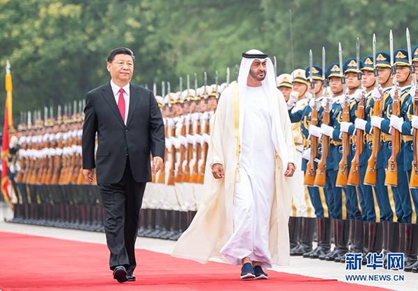7月22日,国家主席习近平在北京人民大会堂同阿联酋阿布扎比王储穆罕默德举行会谈。这是会谈前,习近平在人民大会堂东门外广场为穆罕默德举行欢迎仪式。 新华社记者翟健岚摄
