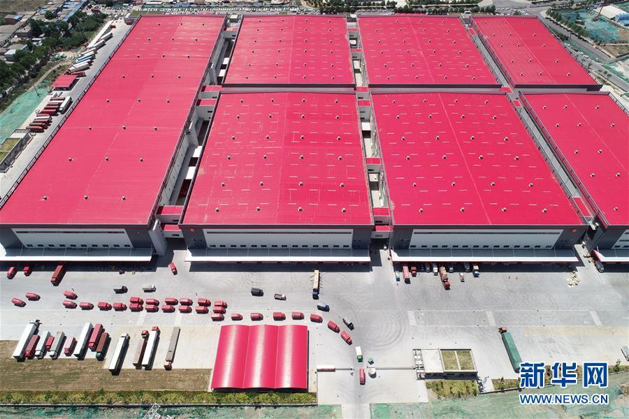 这是位于陕西西安的京东智能物流中心(6月3日无人机拍摄)。 新华社记者 邵瑞 摄