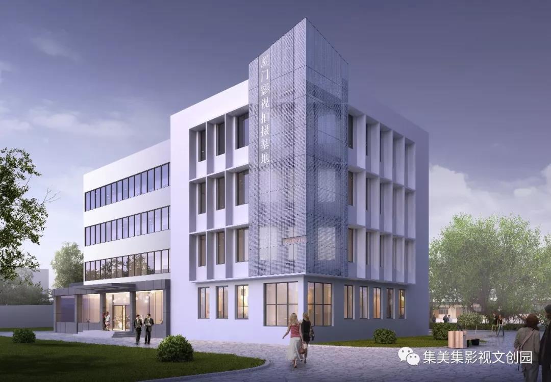 ▲招商中心概念图,建筑面积 1296 ㎡的四层建筑,作为影视企业和剧组的接待、基地管理和招商的办公区域