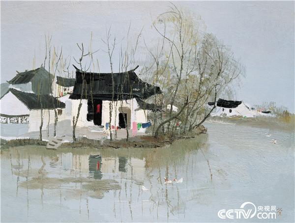吴冠中  水上人家 1980年 46×61厘米 油画