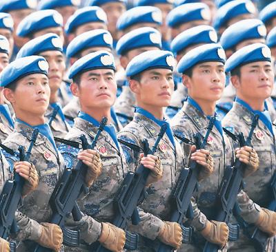 图为维和部队方队。