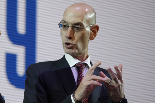 NBA Commissioner Adam Silver speaks during a welcome reception for the NBA Japan Games 2019 between the Toronto Raptors and the Houston Rockets in Tokyo, Japan, Monday, Oct. 7, 2019.