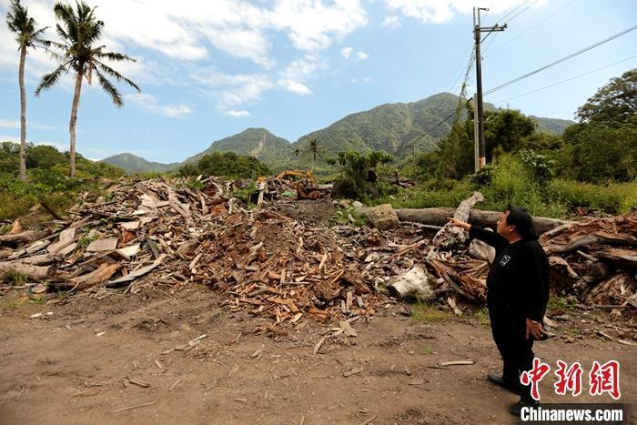 图为何志隆向记者介绍窑厂使用的漂流木。中新社记者 张远 摄
