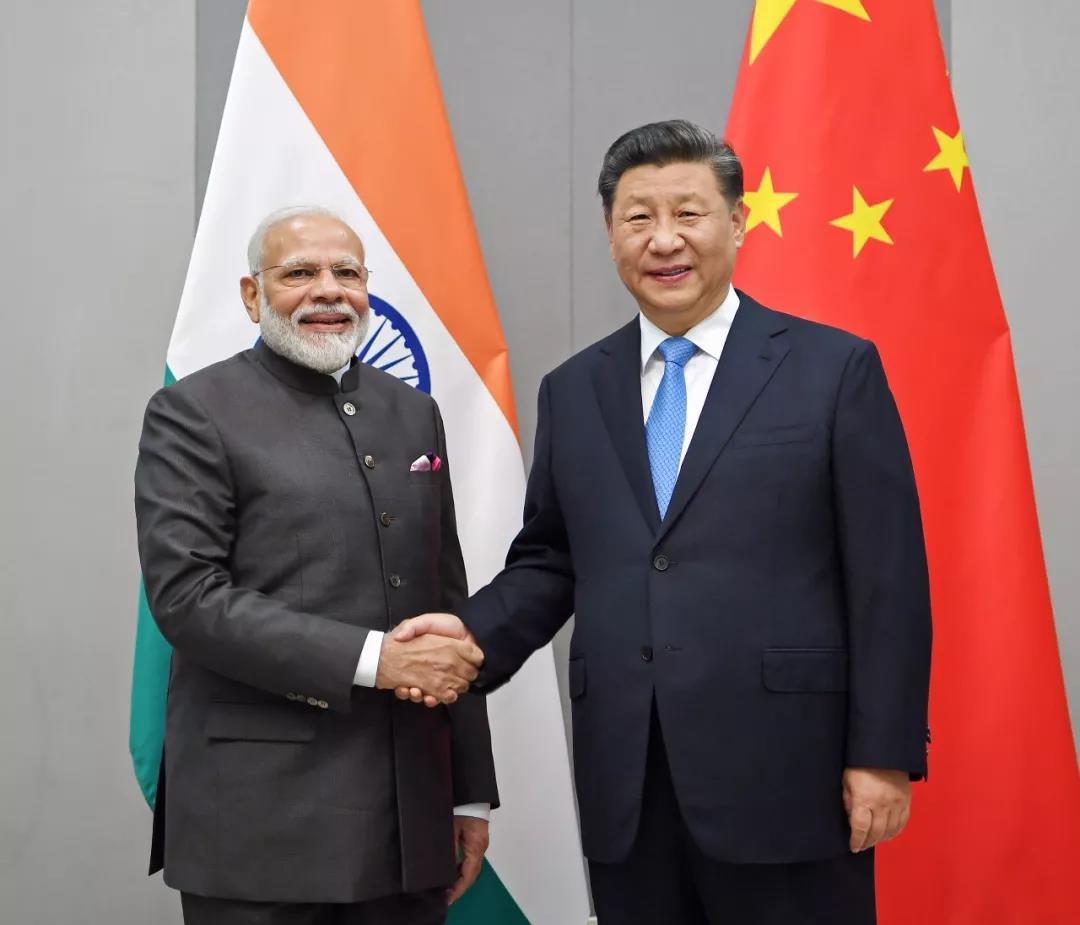 ▲当地时间11月13日,国家主席习近平在巴西利亚会见印度总理莫迪。新华社记者张领摄
