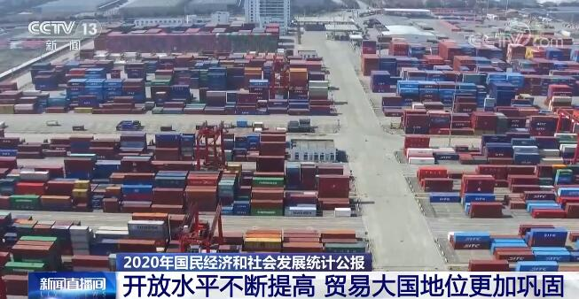 2020年我国开放水平不断提高  货物进出口总额321557亿元